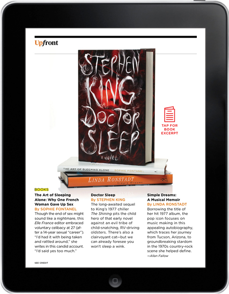 AARP Magazine for iPad, Upfront/Books page, August-September 2013