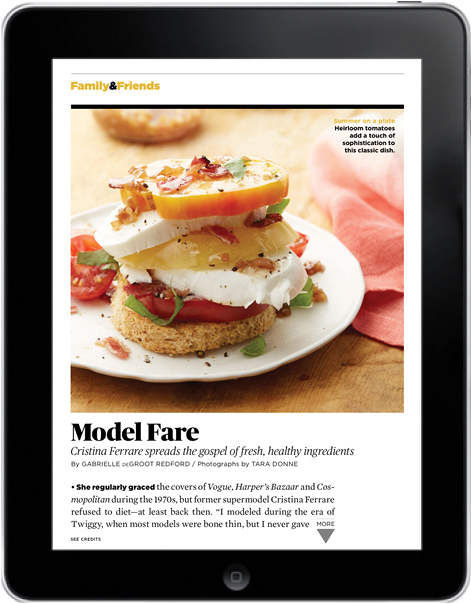 AARP Magazine for iPad, Family & Friends/Food page, August-September 2013