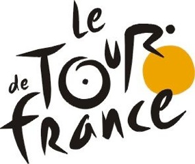 """The world's most famous bike race. The """"R"""" in """"Tour"""" is a cyclist. The yellow circle is the front wheel of a bicycle, the """"O"""" is the back wheel."""