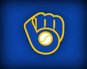 "Milwaukee Brewers: The emblem for the Milwaukee Brewers.  Baseball glove forms an ""M"" and a ""B"". This Logo was designed by a college student."
