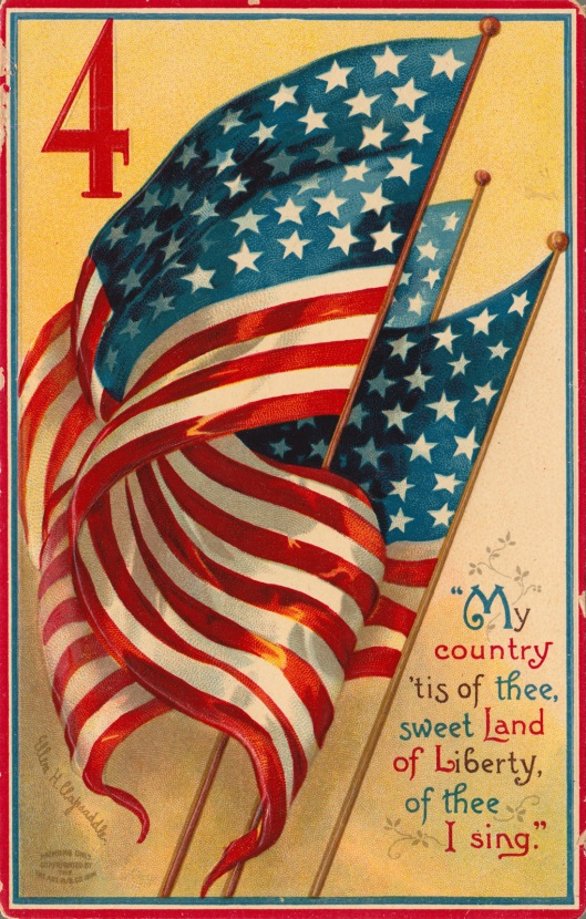 This patriotic postcard is the handiwork of Ellen H. Clapsaddle, a prolific designer renowned for her creative holiday cards. Postmarked in 1910, the postcard was published by International Art Publishing Co.
