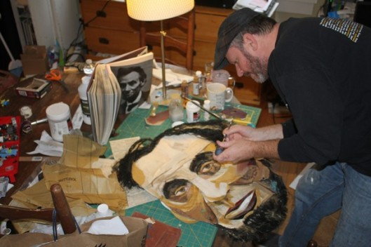 Collage artist Wayne Brezinka spent two months gathering Civil War-era photos and newspapers to use in his mixed media Lincoln portrait. Image courtesy of Wayne Brezinka