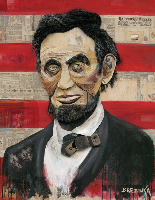 LINCOLN, 2013 by Wayne Brezinka. Collage, mixed media & acrylic on canvas / 48 x 60 in., 4 ft x 5 ft