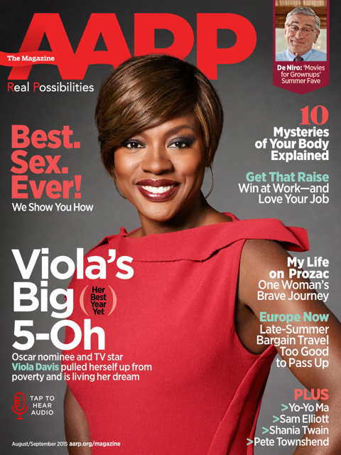 AARP the Magazine, August/September 2015. Viola Davis photographed by Robert Trachtenberg/Trunk Archive.