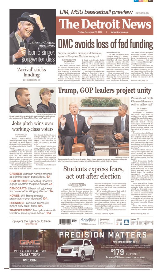 The Detroit News, Nov. 11, 2016