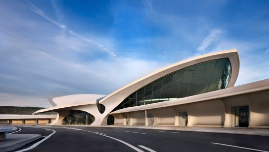 The TWA Flight Center opened in 1962 as the original terminal designed by Eero Saarinen for Trans World Airlines at New York City's John F. Kennedy International Airport.